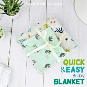 flannel diy baby blanket gift-wrapped