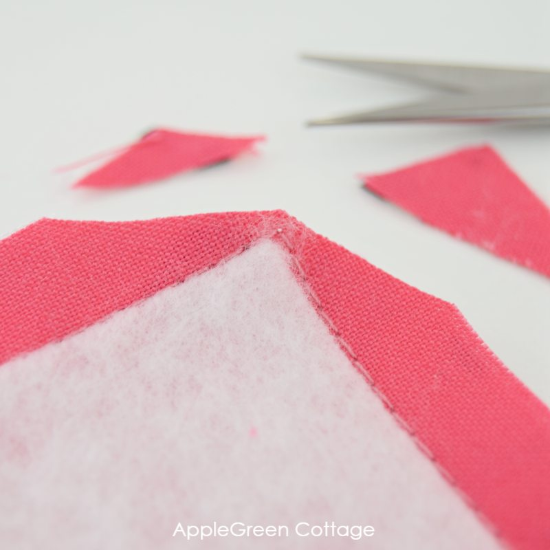 clip corners on a diy placemat