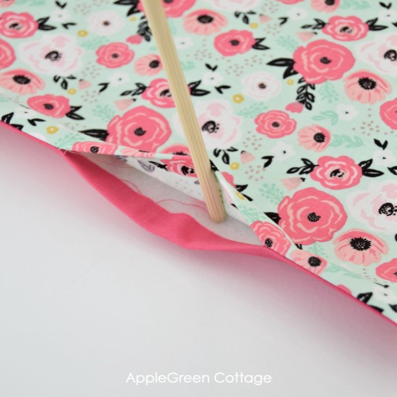 floral fabric with layers sewn together