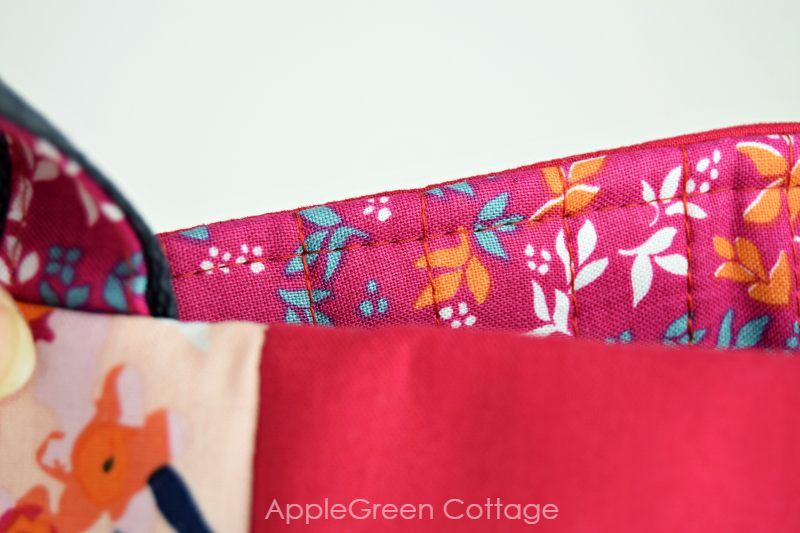 quilted batting as bag interfacing