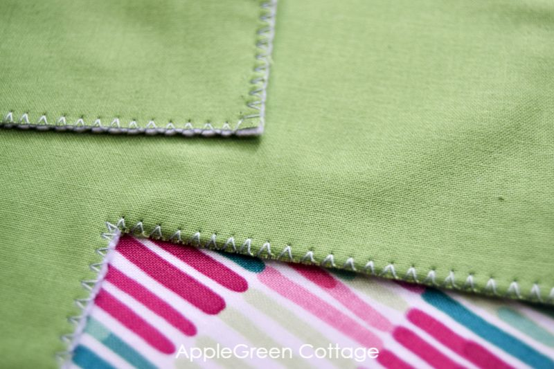 fabric layers basted using a zig zag stitch