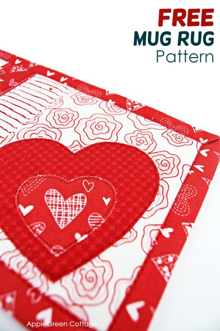 Mug Rug Pattern With Heart Applique