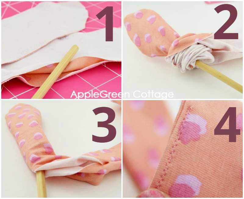 steps to turn a fabric headband right side out