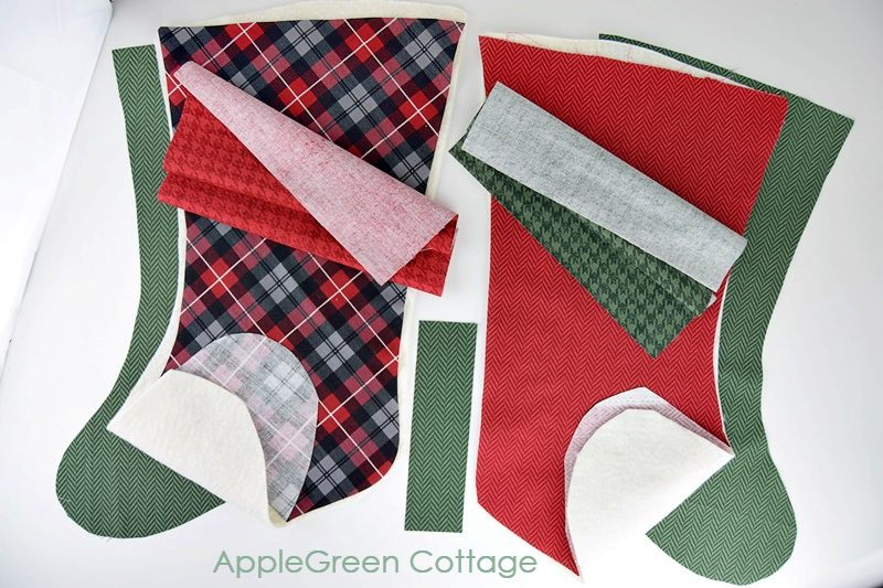 plaid fabric cut to make christmas stocking decoration