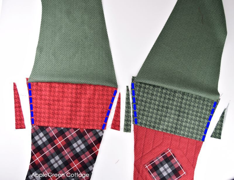green and red plaid cut into a stocking design