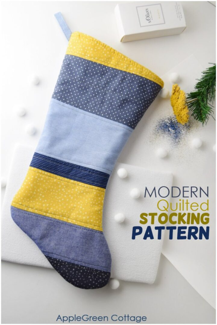 Modern Large Quilted Christmas Stocking Pattern