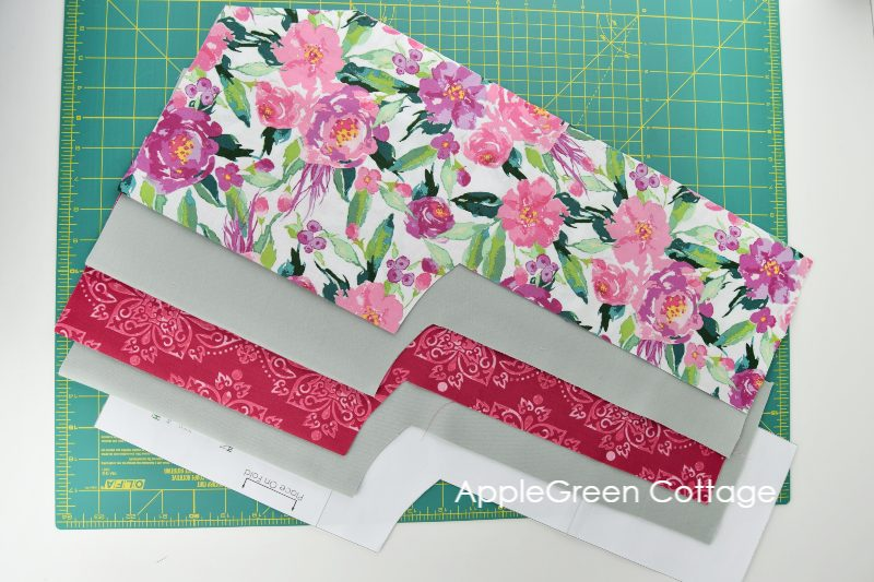 fabric cut to sew heat pack for shoulders