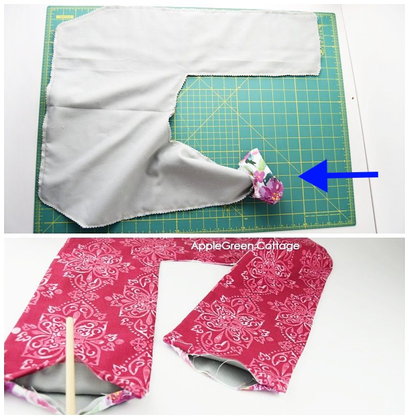 red sleeves sewn to finalize diy rice pack