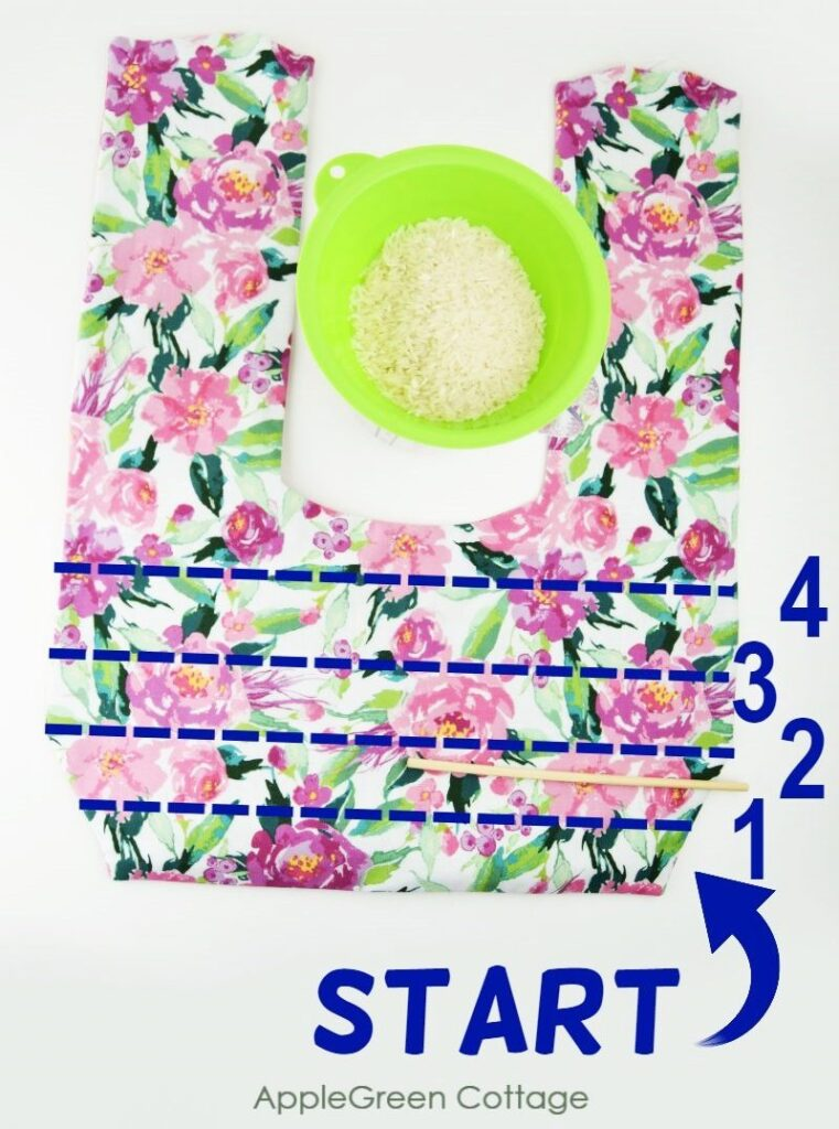 flroal fabric sewn into compartments for rice pack