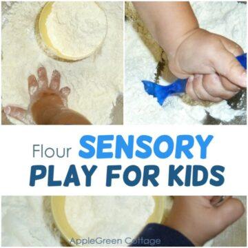 flour sensory play for kids
