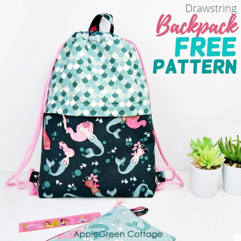 diy drawstring backpack in teal and blue fabric