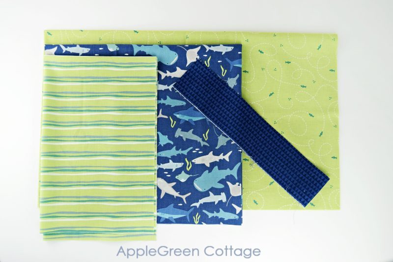 green and blue fabric prints for a diy pillowcase