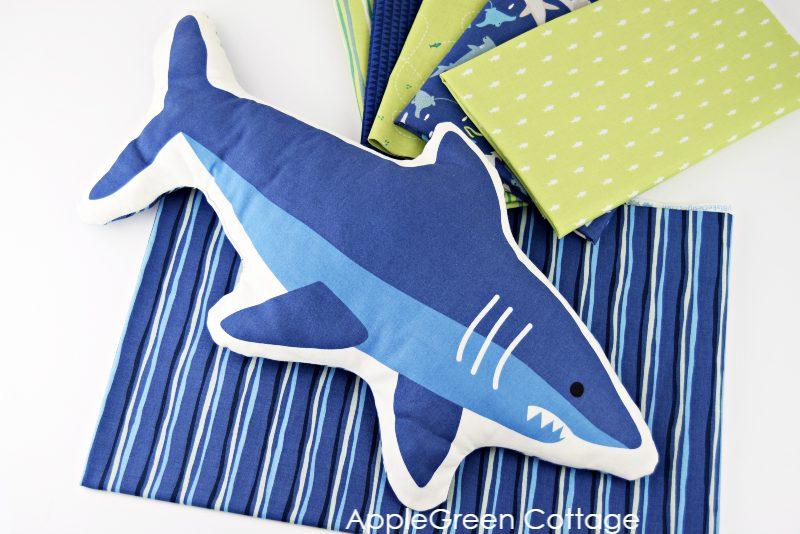 blue diy shark pillow