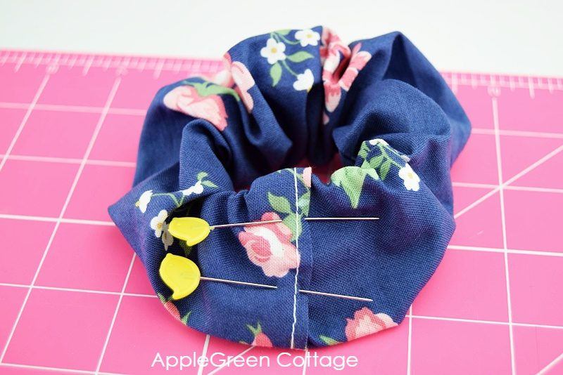 semi finalized blue scrunchie