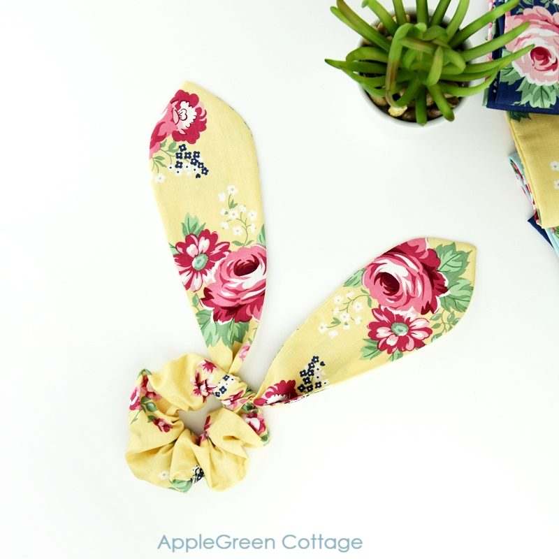 diy ear bunny scrunchie in yellow floral fabric