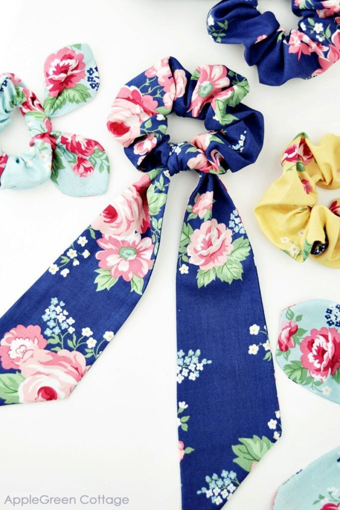 diy scarf scrunchie sewn with blue floral fabric