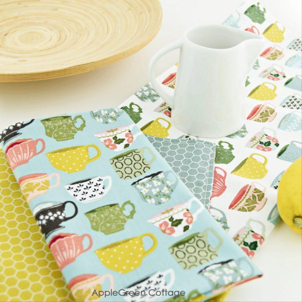 diy cloth napkins on a white table