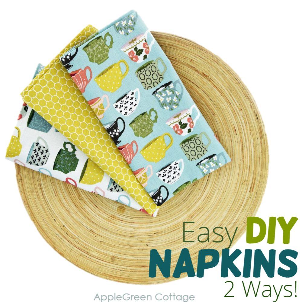 diy cloth napkins on a plate