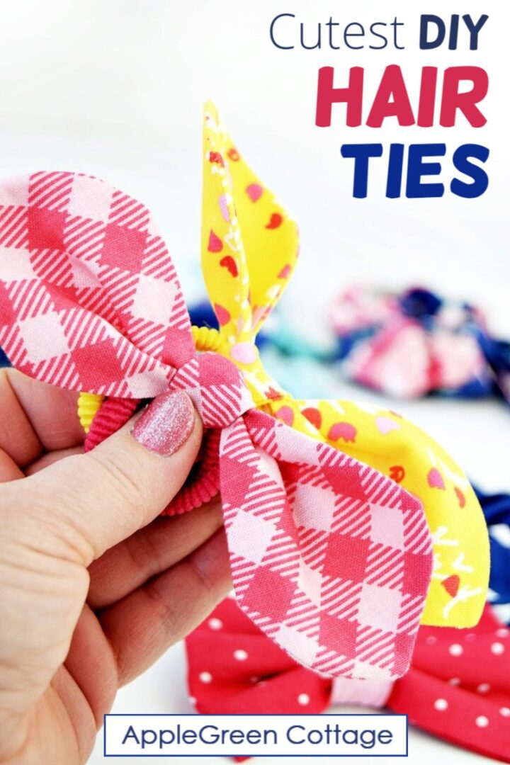 diy hair ties with knot bows in bright colors