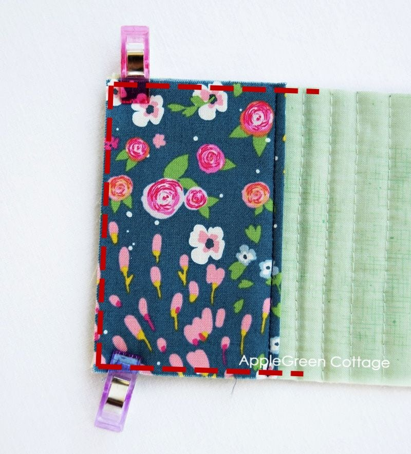 sewing pocket on a needlebook
