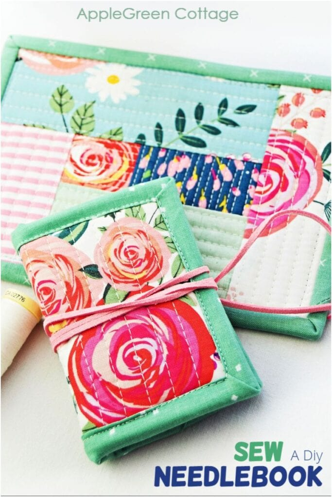 diy fabric needle book  with floral fabric