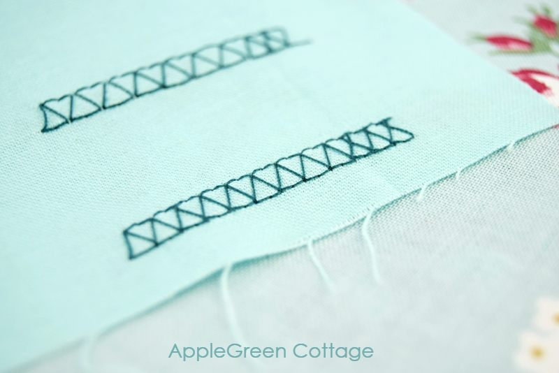mock overlock stitch on blue fabric