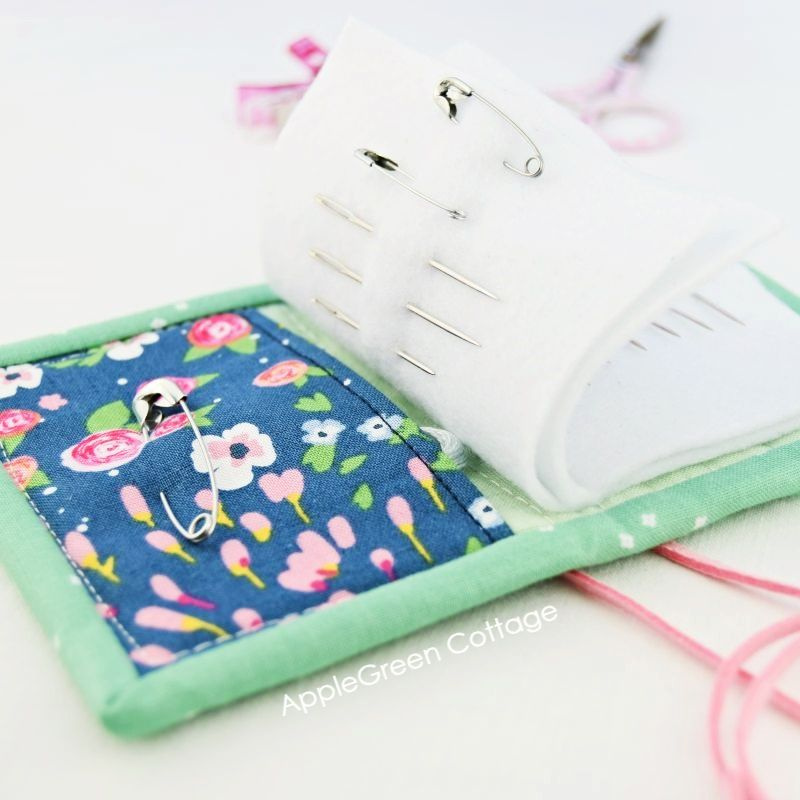 fabric needle book with a pocket