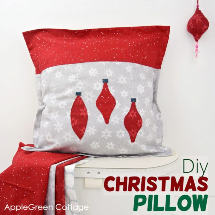 diy Christmas pillow in red fabric