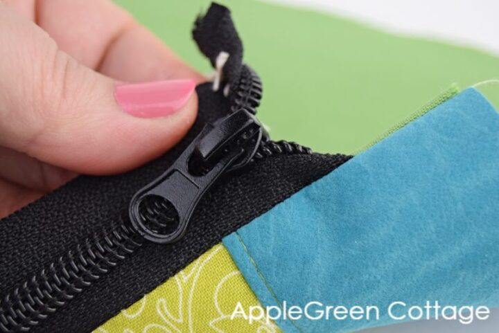 zipper end sewn into a bag