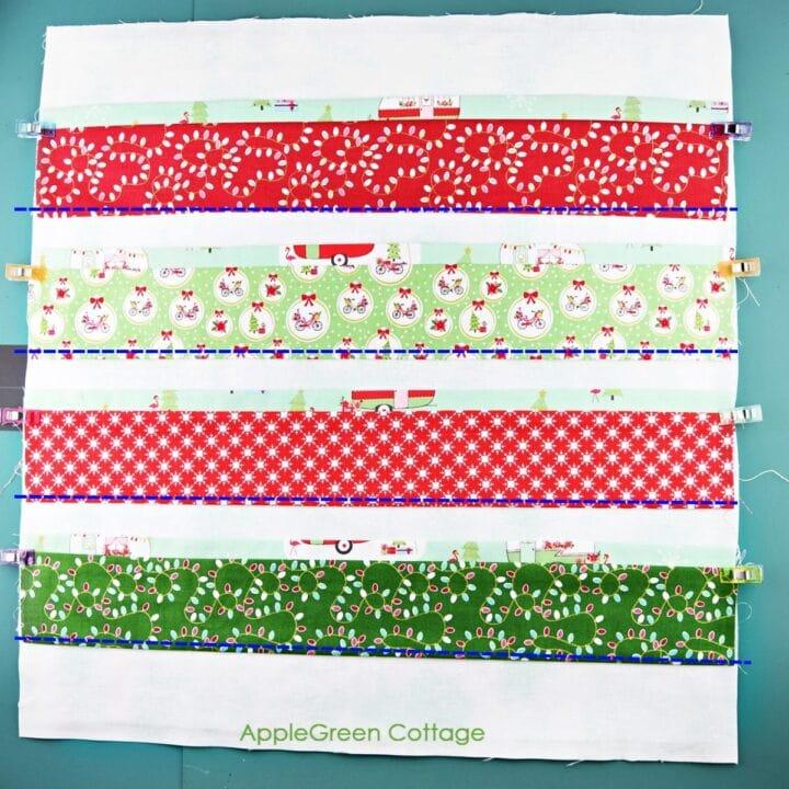 stripes of fabric on diy christmas countdown calendar