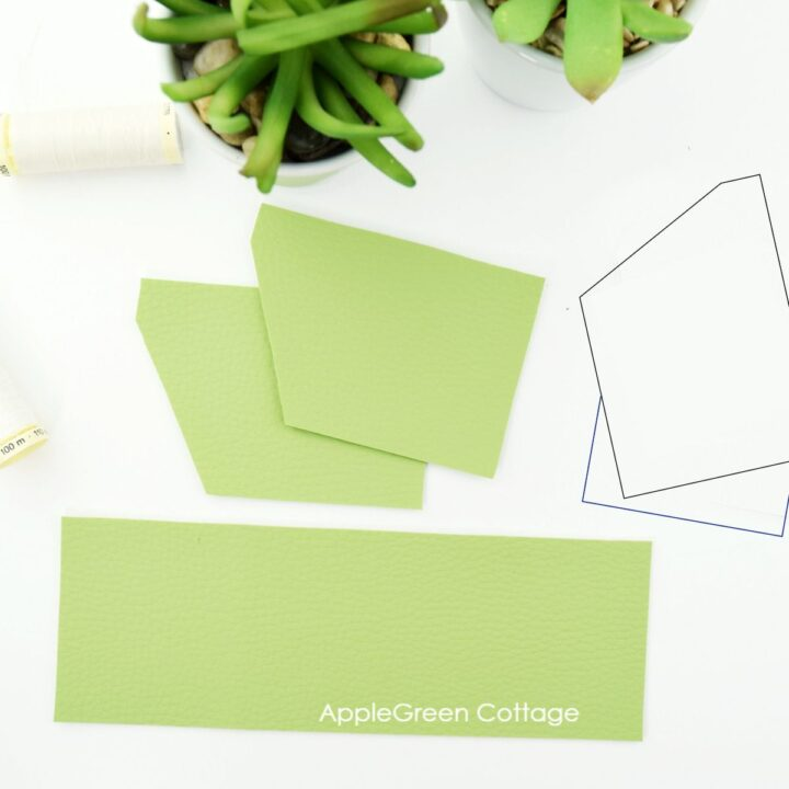 pieces cut to sew a minimalist card wallet pattern