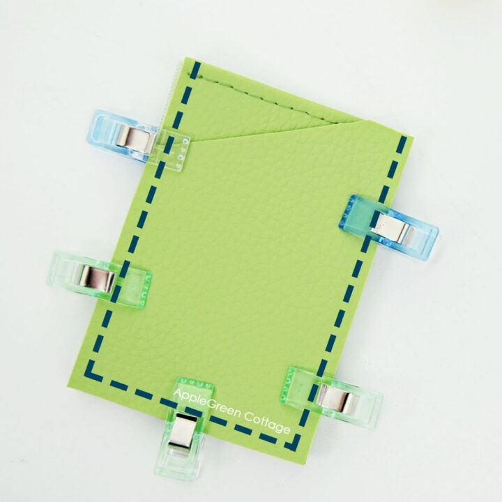 sewing a card holder wallet in green pleather