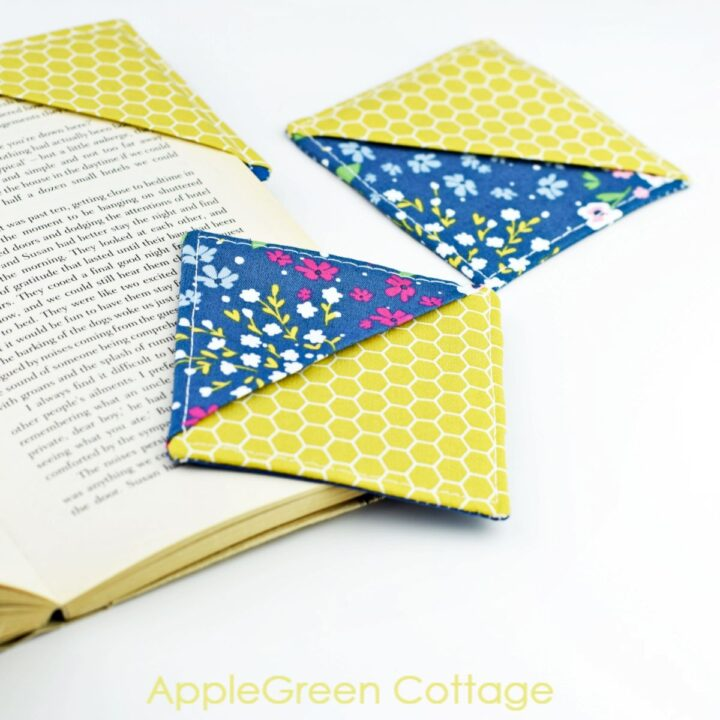 diy fabric corner bookmarks sewn with blue and yellow fabric