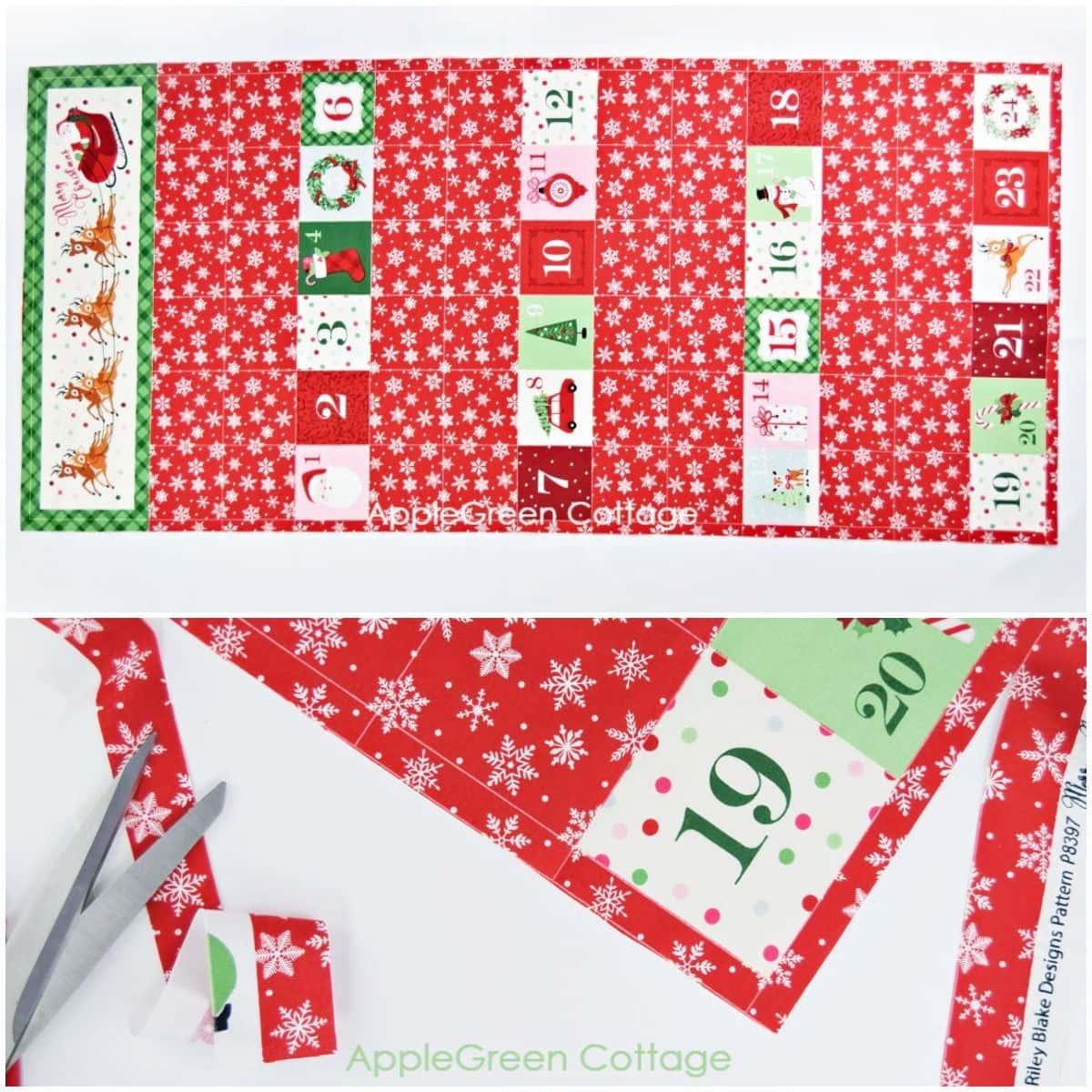 Christmas advent fabric panel