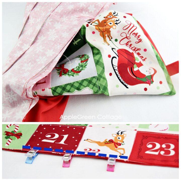 advent calendar panels to sew in progress