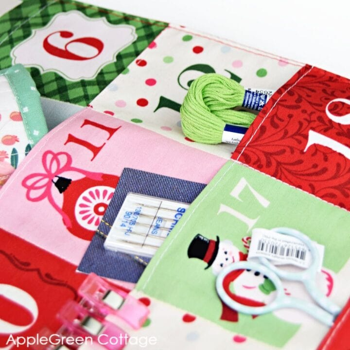 finished advent calendar sewn from advent calendar fabric panels