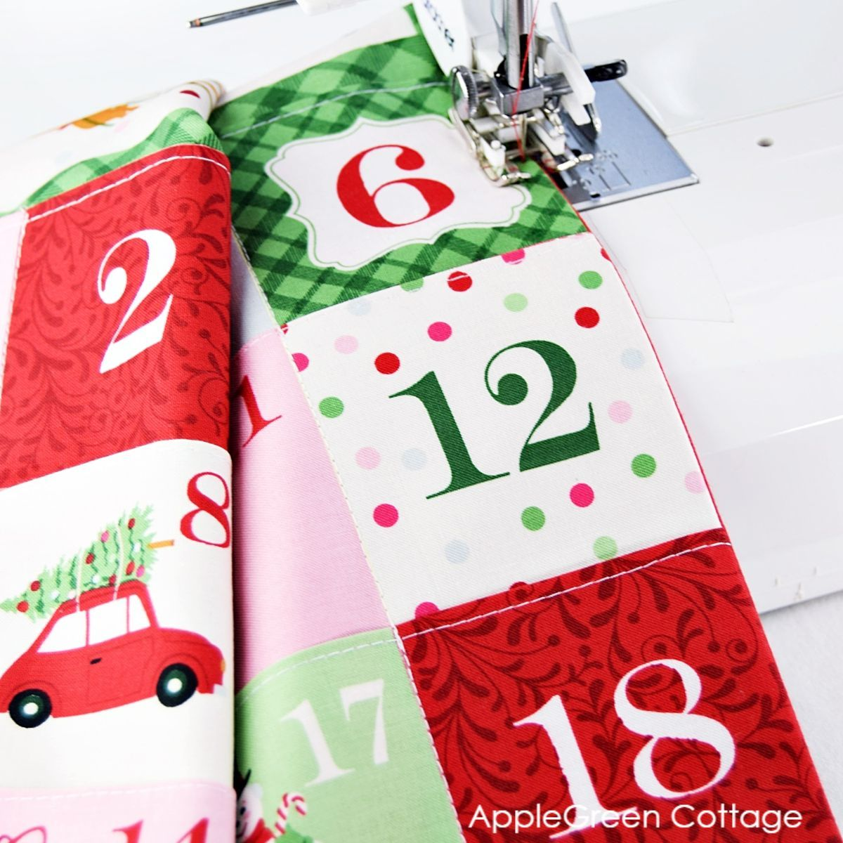sewing a Christmas advent panel