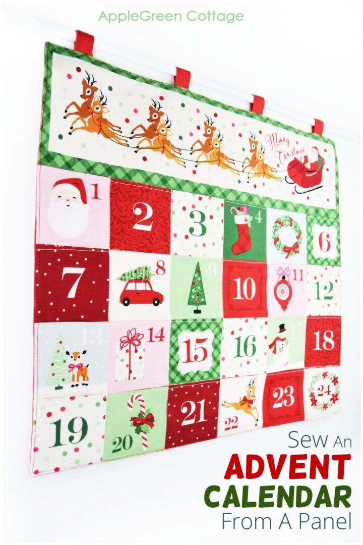 a finished advent calendar sewn from a Christmas advent fabric panel