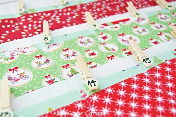 diy advent calendar in red and green fabric