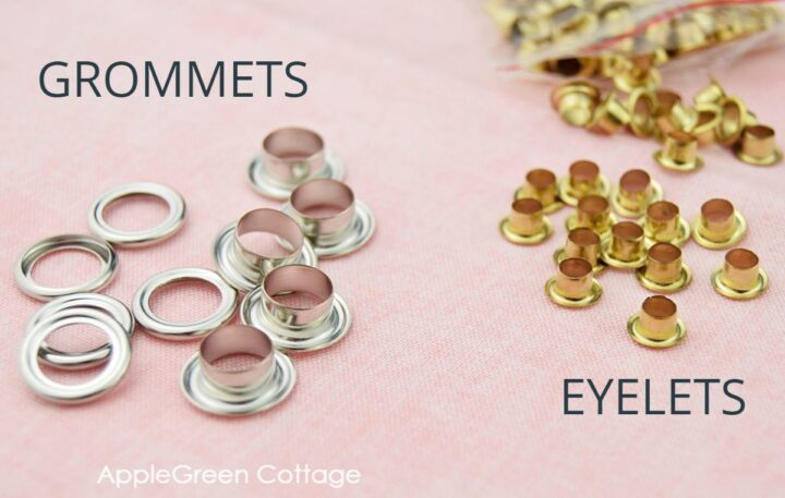 grommets and eyelets on a light surface