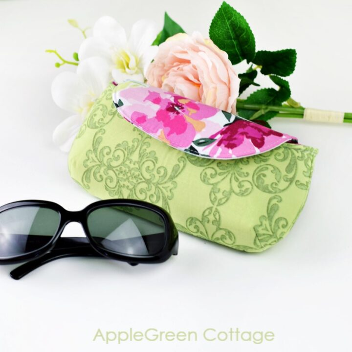 a glasses case sewn with a free sewing pattern for eyeglasses case