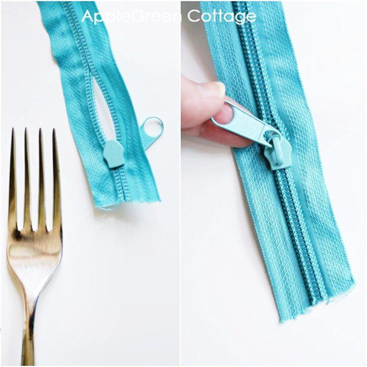 teal zipper with zipper slider installed