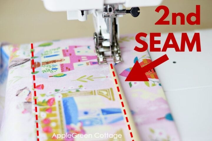 fabric in the sewing machine when making curtains