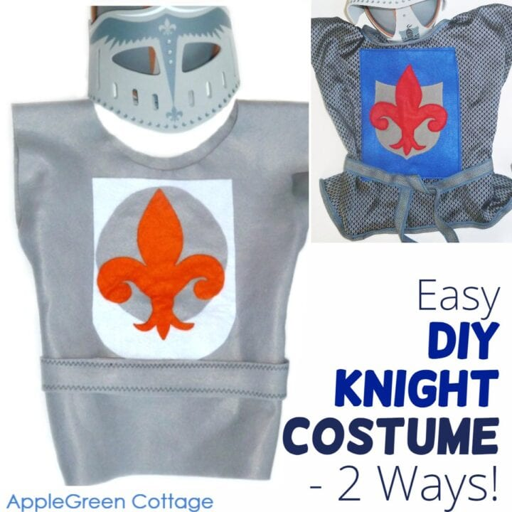 two versions of diy knight costume