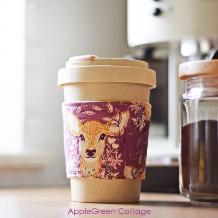 a bamboo coffee mug with a diy coffee cozy