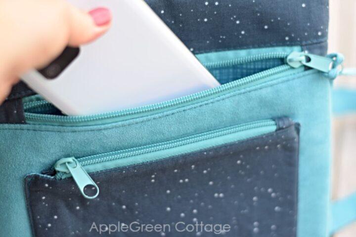 zipper pocket on a crossbody purse you can sew
