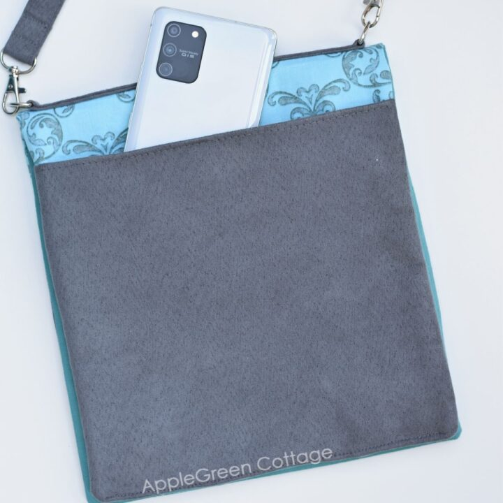 back full width slip pocket on a crossbody bag to sew