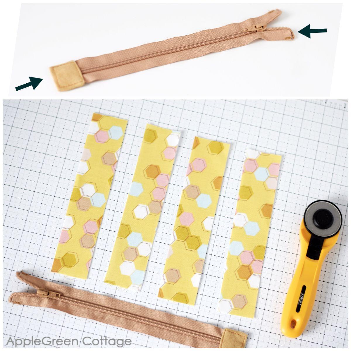 cutting fabric to sew a recessed zipper in a tote bag