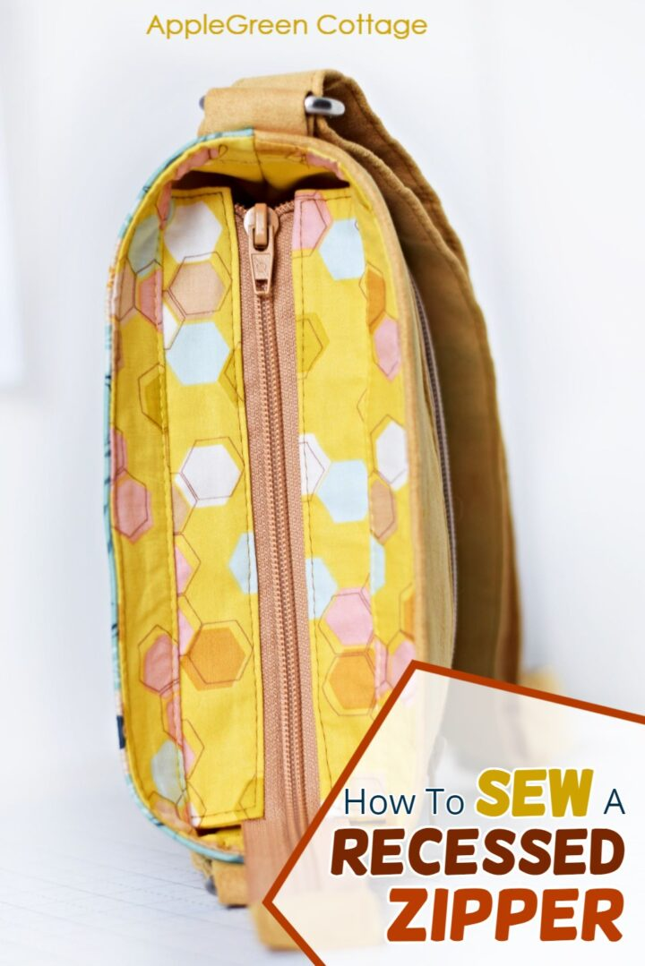 how to put a recessed zipper in a tote bag