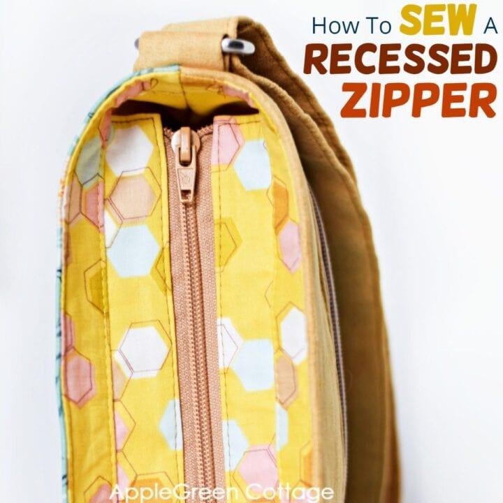 sewing an inset zipper in a bag
